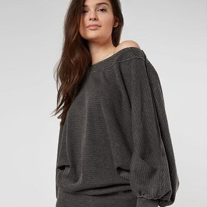 Free People Grey Willow Thermal Off Shoulder  L